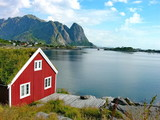 Red house in Lofoten poster