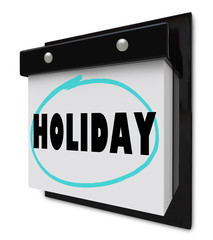 Holiday Word on Wall Calendar