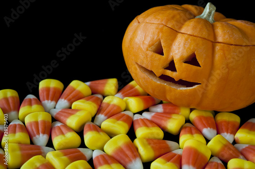 Jack-o-lantern with Candy Corn on Black