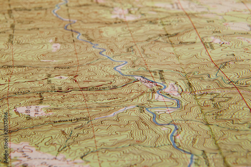 Topographic map with river - 28575866