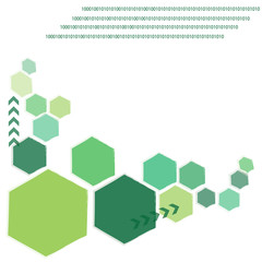 Green polygon technology background
