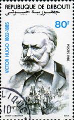 Victor Hugo (1802-1885). Rep de Djibouti.  Timbre postal.