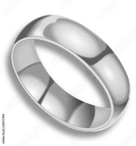 Silver ring on white background with shadow