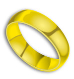 Gold ring on white background with shadow