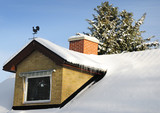 Winter house roof with chime poster
