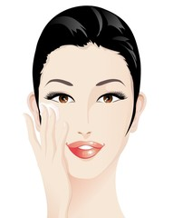 Ragazza e Crema per il Viso-Moisturizer on Girl's Face-Vector