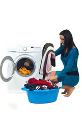 Housewife wash  laundry