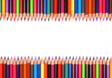 Fototapety Close up of color pencils with different color over white