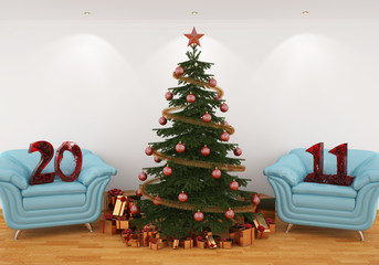 Christmas tree in the interior with blue leathern chairs, and 20