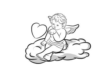 Engel mit Herz auf Wolke schwarz-weiss