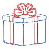 Gift box square, pictogram poster
