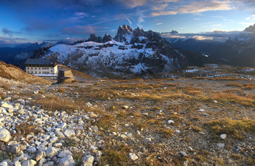 Stitched Panorama, morning dolomites landscape