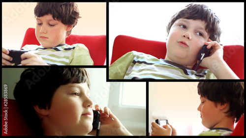 Young boy with cellphone, montage