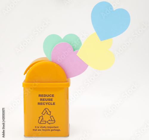 Recycling Bin and heart shaped message card