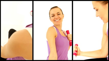 Attractive woman working out with dumbbells, montage
