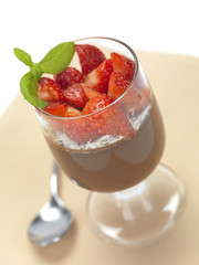 strawberries and chocolate mousse