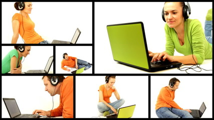 Man and woman with headphones and laptop, montage