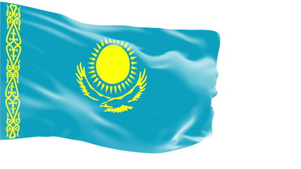 Kazakhstan flag slowly waving. White background. Seamless loop.