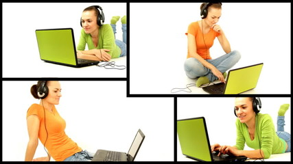 Woman with headphones and laptop, montage