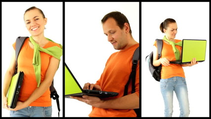 male and female students with personal electronics, montage
