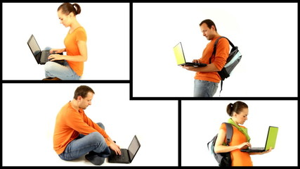 male and female students with laptop isolated, montage