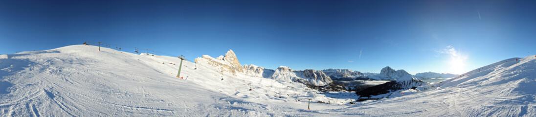 Skipisten Panorama in Gröden
