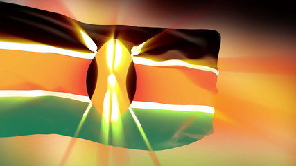 Kenya flag slowly waving. Glow. Seamless loop.