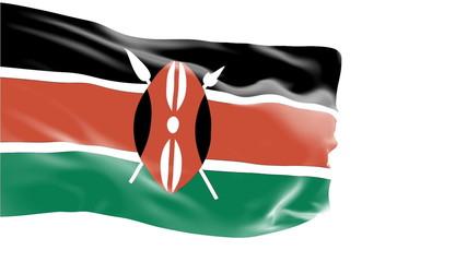 Kenya flag slowly waving. White background. Seamless loop.
