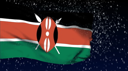 Kenya flag waving. White snow background. Seamless loop.