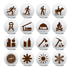 Hiker and traveler adventure vector icons set