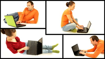 Man and woman with laptop isolated, montage