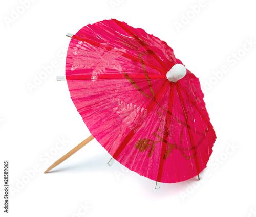 Pink paper cocktail umbrella - 28589865