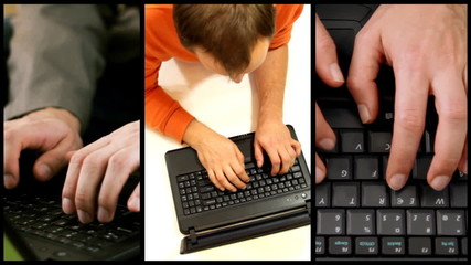 Typing on laptop keyboard, montage