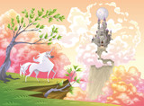 Unicorn and mythological landscape Vector illustration