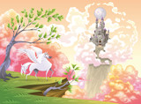 Pegasus and mythological landscape. Vector illustration poster