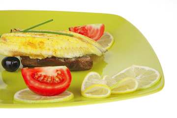 savory plate: roast golden seafish fillet