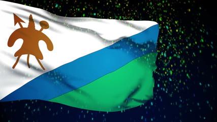 Lesotho flag waving. snow background. Seamless loop.