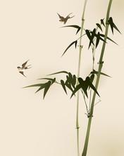 branches de bambou, vectorisé peinture de style oriental