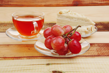 grapes with tea and cake