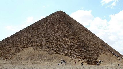 Red Pyramid with Tourists in Egypt