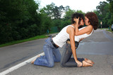 two girs at road