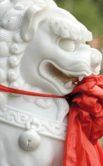 chinese traditional sculpture lion with red silk