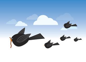 Bird with worm illustration