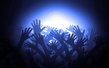Hände im blauen Licht