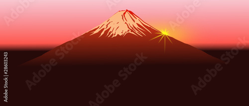 Fuji mountain sunrise, vector image.