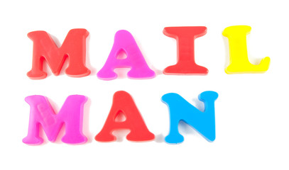 mail man written in fridge magnets on white background