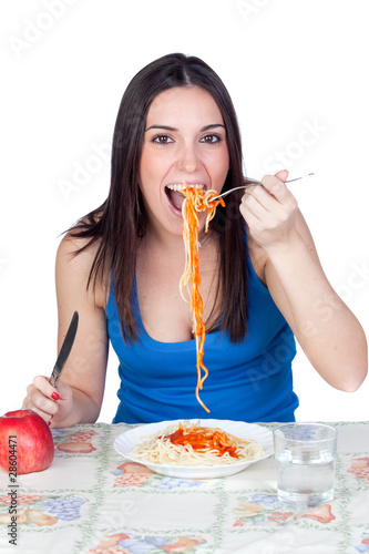 Attractive girl at lunchtime
