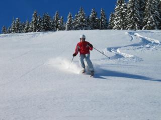 Skiurlaub - Skifahrer im Tiefschnee