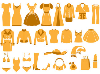 Woman's clothes, Fashion and Accessory icon set