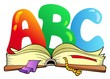 Cartoon ABC letters with open book